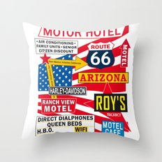 Road 66 and Motel Vintage Print Poster Decoration Throw Pillow