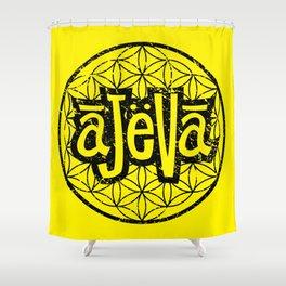 Ajeva Logo Yellow Shower Curtain