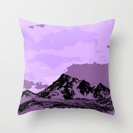 Chugach Mountains - EggPlant Pop Art Throw Pillow