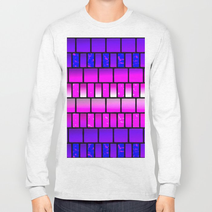Pink and Blue Offset Tiles Pattern Long Sleeve T-shirt