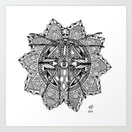 Skeleton Mandala Art Print