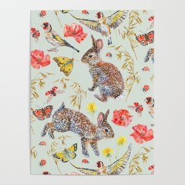 Bunny Meadow Pattern - Green Poster