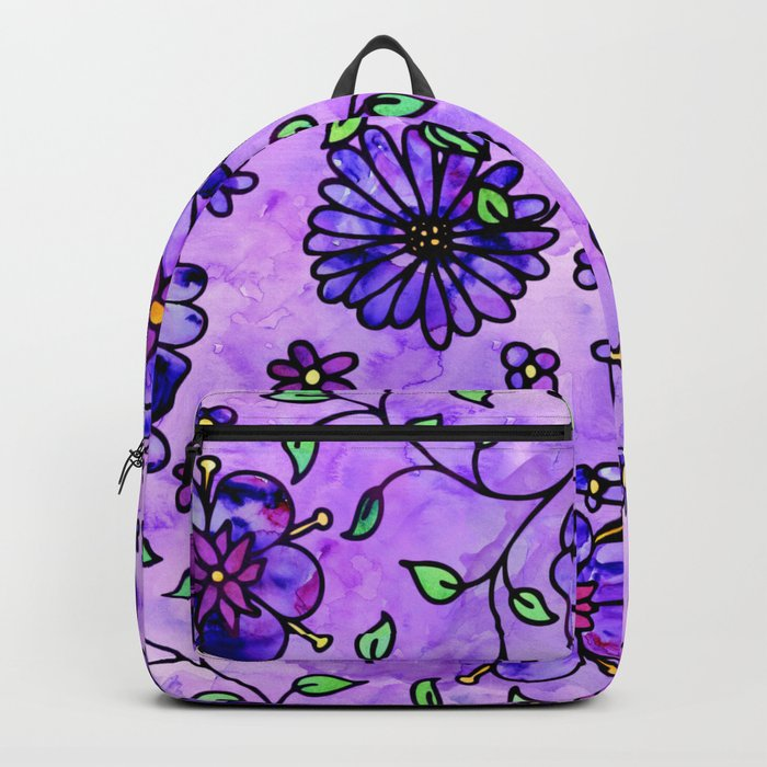 Purple Small Flowers Backpack