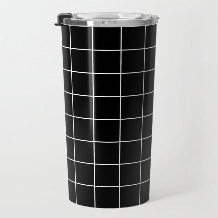 Grid Simple Line Black Minimalist Travel Mug