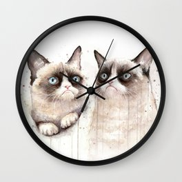 Grumpy Watercolor Cats Wall Clock