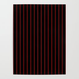 Classic Baseball Pattern Thin Red Stripes on Black Poster