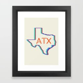 ATX Austin, Texas Retro Neon Lights Framed Art Print