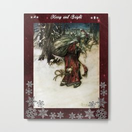 Father Christmas 2, Vintage Arthur Rackham Santa Metal Print