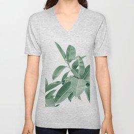 Ficus Elastica Soft Green Glam #1 #tropical #decor #art #society6 Unisex V-Neck