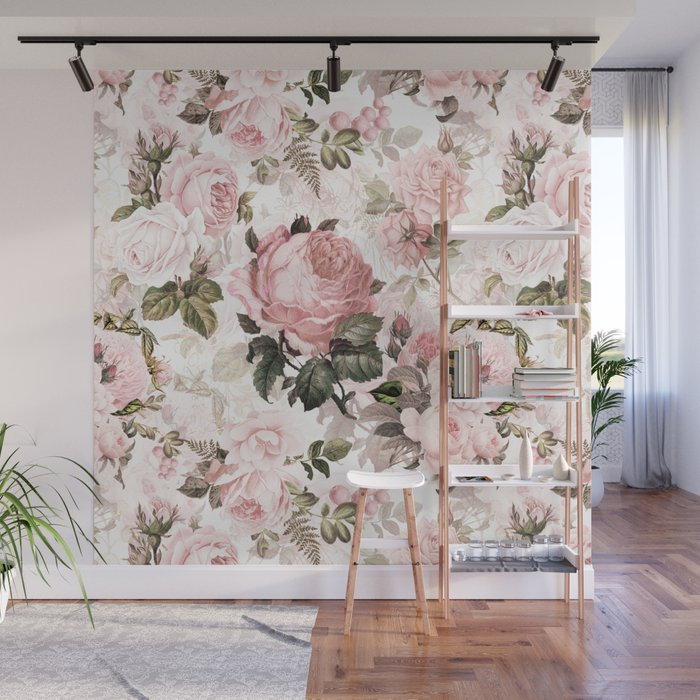 Vintage Shabby Chic Sepia Pink Roses Wall Mural By Love