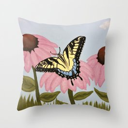 Swalowtail Butterfy on Purple Cone Flower Throw Pillow
