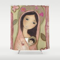 madonna Shower Curtains featuring Madonna in Pink by Flor Larios by Flor Larios Art