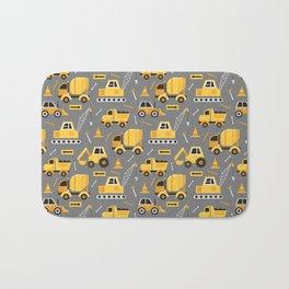 Construction Trucks on Gray Bath Mat