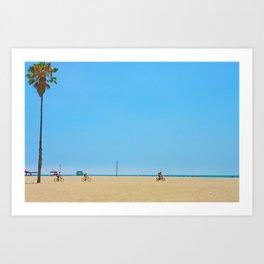 Venice Beach to Santa Monica Bicycle Riders Art Print