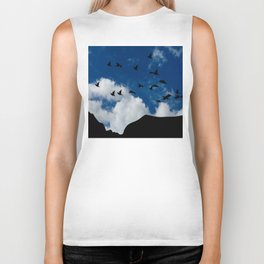 Sky, Face Profile Mountains and Black Birds Biker Tank
