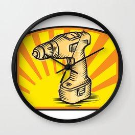 Cordless Drill Power Tool Woodcut Retro Wall Clock