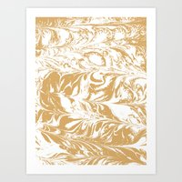 Suminagashi japanese spilled ink watercolor swirl marble pattern ocean gold and white minimalist art Art Print