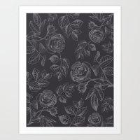 FLORAL ILLUSTRATION BLACK Art Print