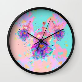 Colorful Watercolor Flower Wall Clock