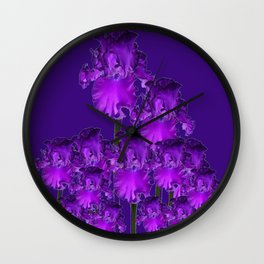 Contemporary Dark Purple Iris Garden Art Wall Clock