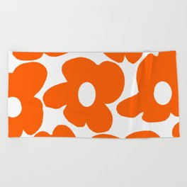 Orange Retro Flowers White Background #decor #society6 #buyart Beach Towel