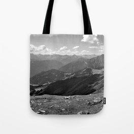 panorama on adventure park hög alps serfaus fiss ladis tyrol austria europe black white Tote Bag