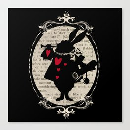 Alice In Wonderland White Rabbit Vintage Book Canvas Print