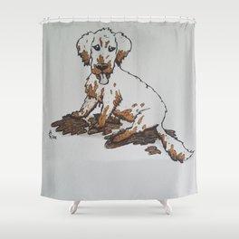Muddy Puppy, Ruiner of Furniture Shower Curtain
