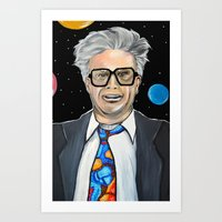 will ferrell Art Prints featuring Will Ferrell as Harry Caray SNL by Portraits on the Periphery