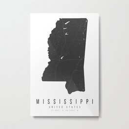 Mississippi Mono Black and White Modern Minimal Street Map Metal Print