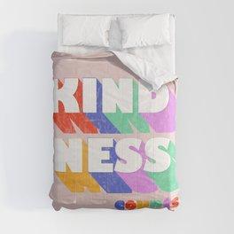 Kindness counts - rainbow typography Comforters