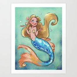 Shrugging Mermaid Art Print