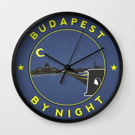 Budapest By Night, circle with frame Wall Clock