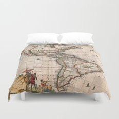 Visscher Map of North America and South America 1658 (with 2015 enhancements) Duvet Cover