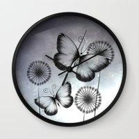 butterflies Wall Clocks featuring Butterflies by LouJah