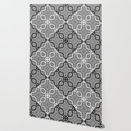 black and white Damascus ornament Wallpaper
