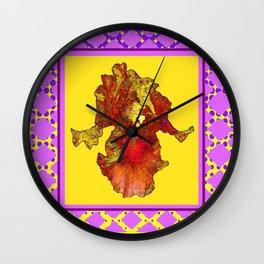 Lilac Purple & Yellow Patterns Golden-Orange  Iris Art Wall Clock