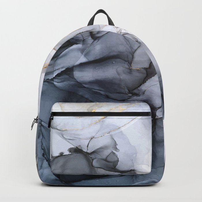 Calm but Dramatic Light Monochromatic Black & Grey Abstract Rucksack