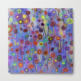 Abstract Flowers Wild Metal Print