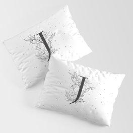 Black Letter J Monogram / Initial Botanical Illustration Pillow Sham