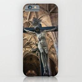 Crucified Christ inside Santa Maria de Belem church in Lisbon, Portugal iPhone Case