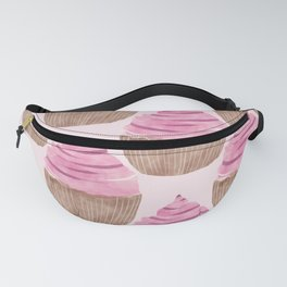 Watercolor seamless pattern with cupcakes. Hand drawn design. pink sweet illustration. Fanny Pack