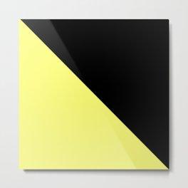 two-tone, black, yellow, double, triangle. Metal Print