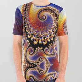 BBQSHOES™: Phoenix Rebirth Spiral All-Over Psychedelic Art Fractal Shirt All Over Graphic Tee