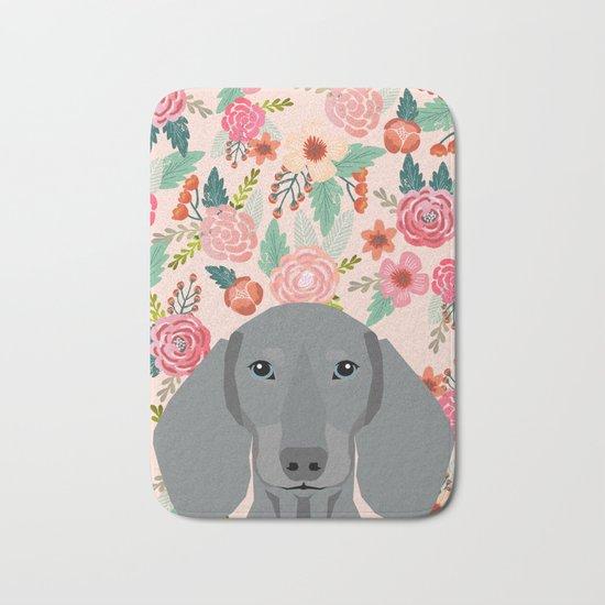 Dachshund pet portrait custom dog art by pet friendly grey dachsie doxie gifts Bath Mat