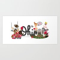 ohio state Art Prints featuring Ohio State Love by Sara Riedel