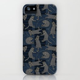 Lounging Cats On Terrazzo - Blue iPhone Case