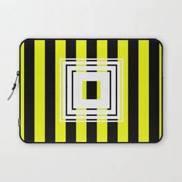 Bumblebee Box - Geometric, bold, yellow and black striped design Laptop Sleeve