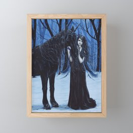 Midnight Travelers Gothic Fairy and Unicorn Framed Mini Art Print