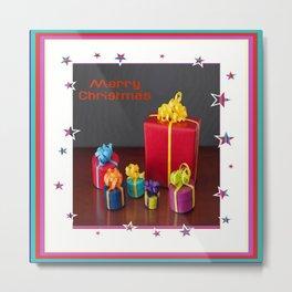 Merry Christmas Gift Boxes Holiday Card  Metal Print
